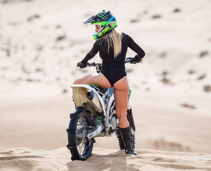 girl on a cross motorcycle