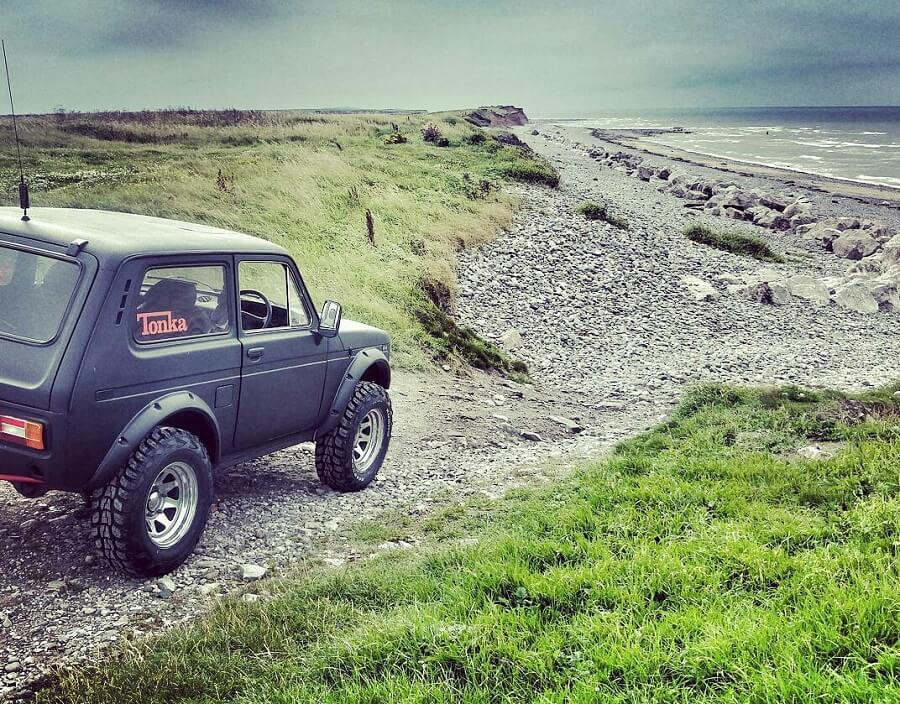 matte black lifted lada niva in Ireland