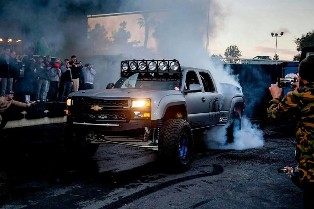 Chevy Silverado prerunner burnout at hoonigan garage