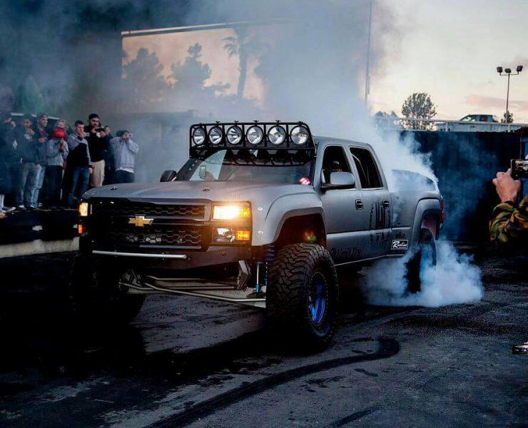 Chevy Silverado prerunner burnout at hoonigan garage