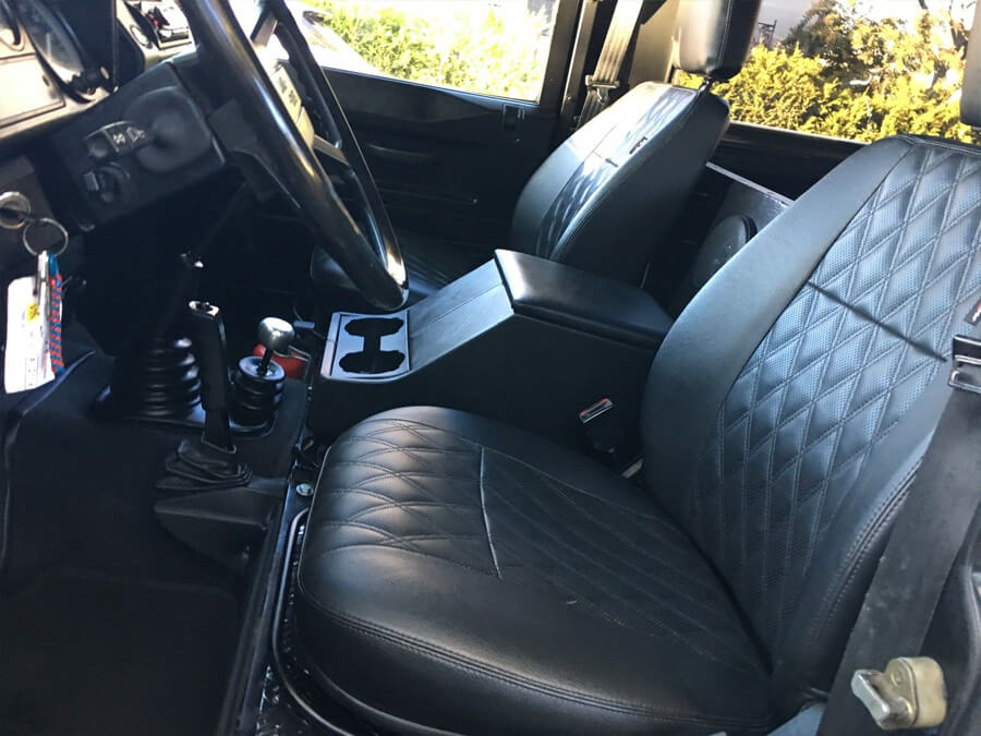 Land rover defender 90 with new seats and interior