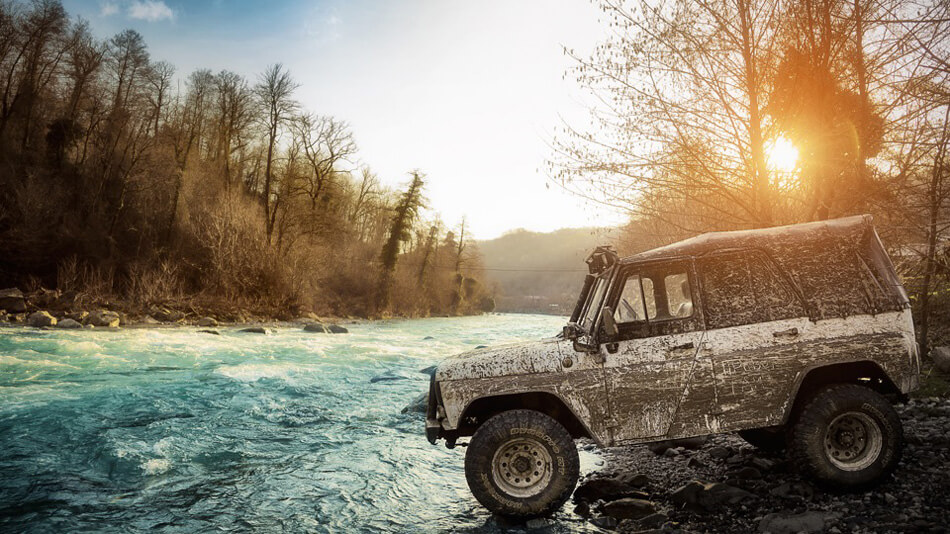 Russian Uaz off-road photography river crossing