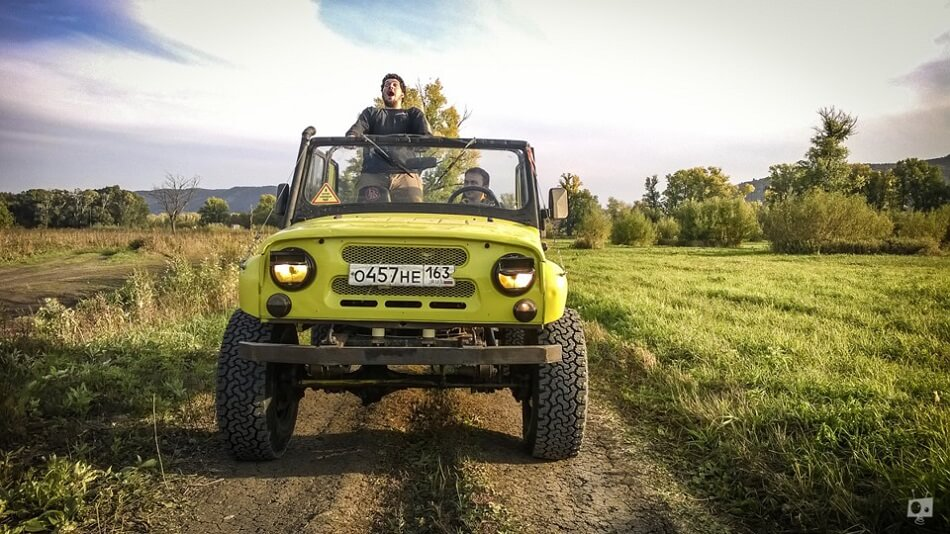 Yellow Uaz without roof