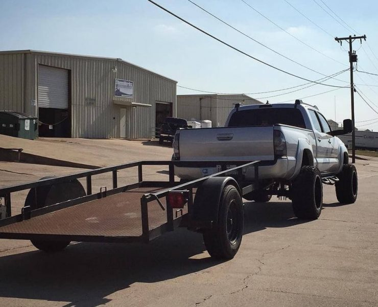 Towing with a lifted truck