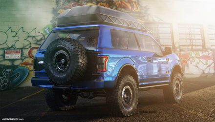 New Ford Bronco Lifted with Offroad Wheels and Roof Rack