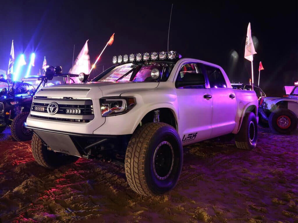 Long travel Toyota Tundra prerunner with off-road mods