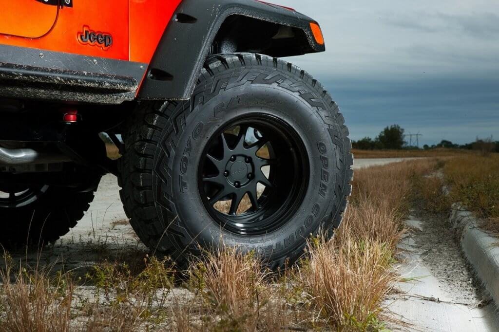 """Jeep Wrangler 17"""" Rotiform Rims and 37 off-road Tires"""