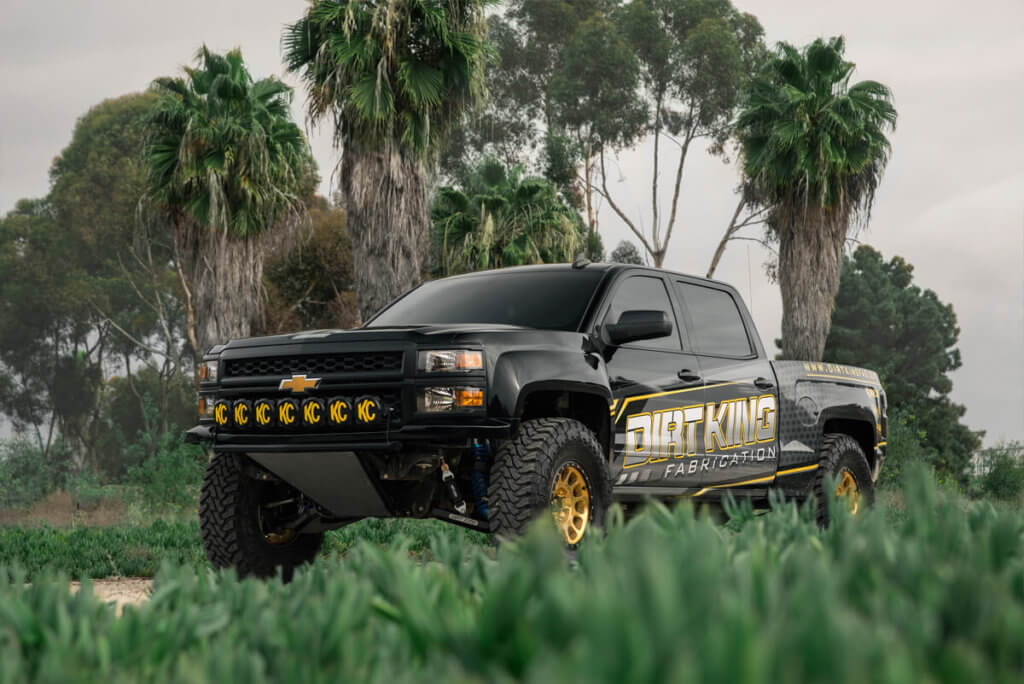 Black Prerunner Chevy Silverado With KC off-road Light bar