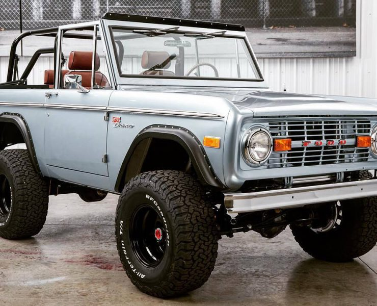 Early Ford Bronco with offroad wheels restored