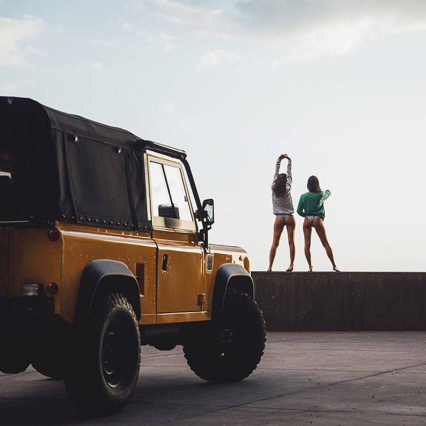 Yellow Defender with Black Soft Top