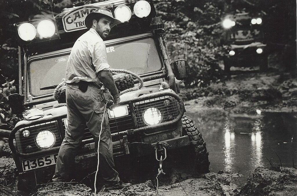 Offroad recovery gear and winch on Land Rover Defender Camel Trophy