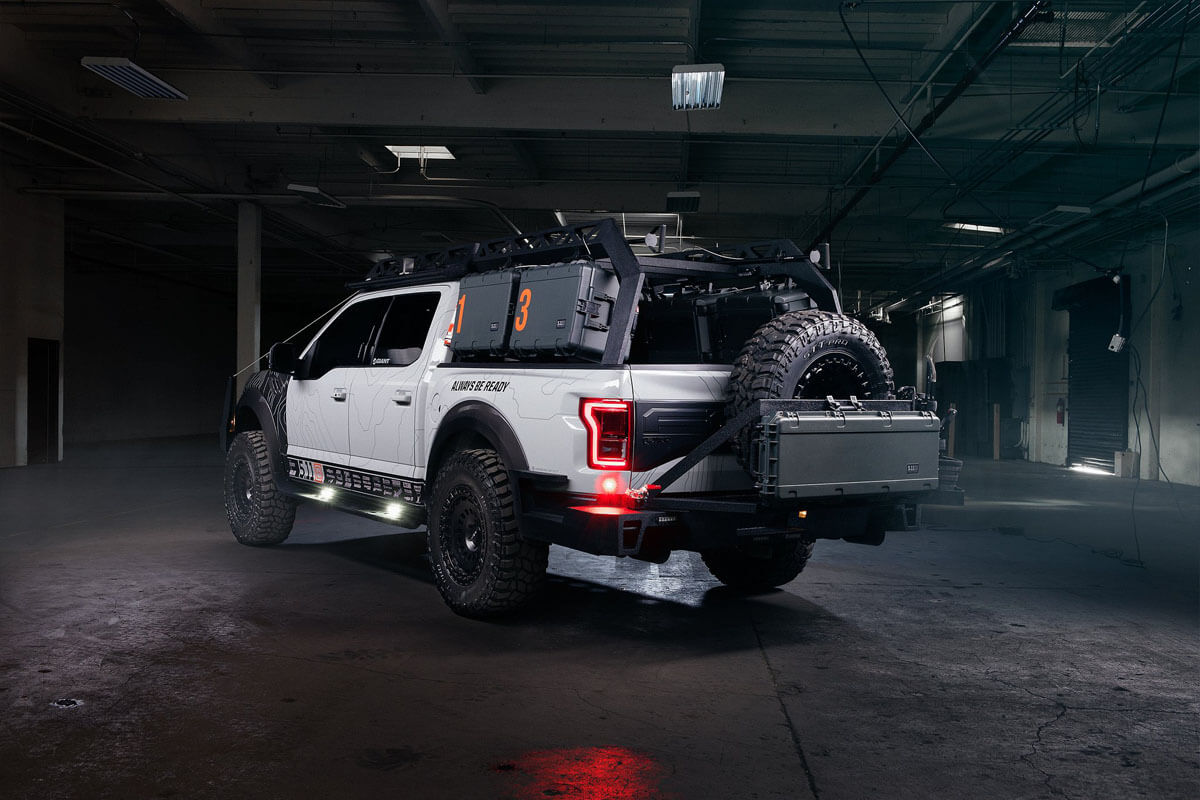 Pickup truck with tactical gear