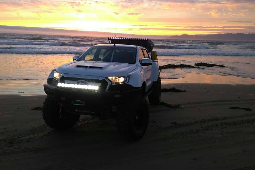 New 2019 Ford Ranger with a steel offroad bumper and LED lightbar