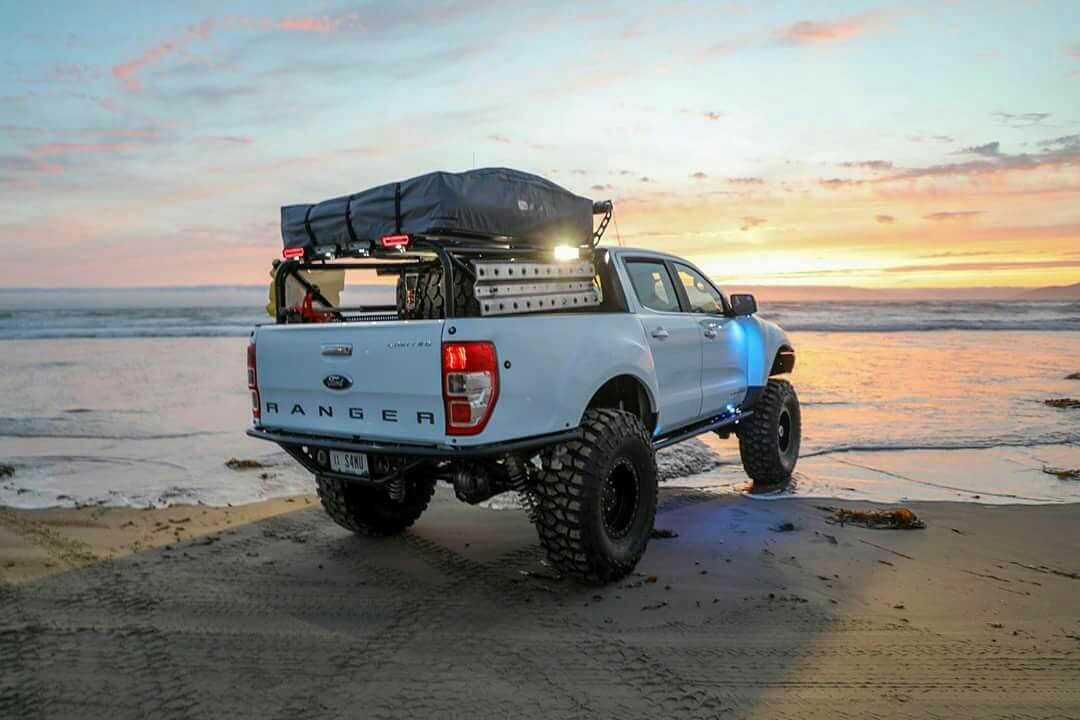 New 2019 ford Ranger with Overland bed rack and a tent