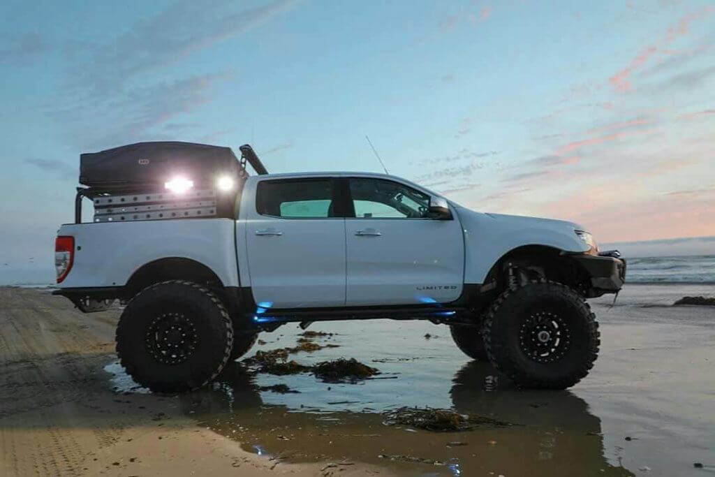 """Lifted new 2019 Ford Ranger on 37"""" tires"""