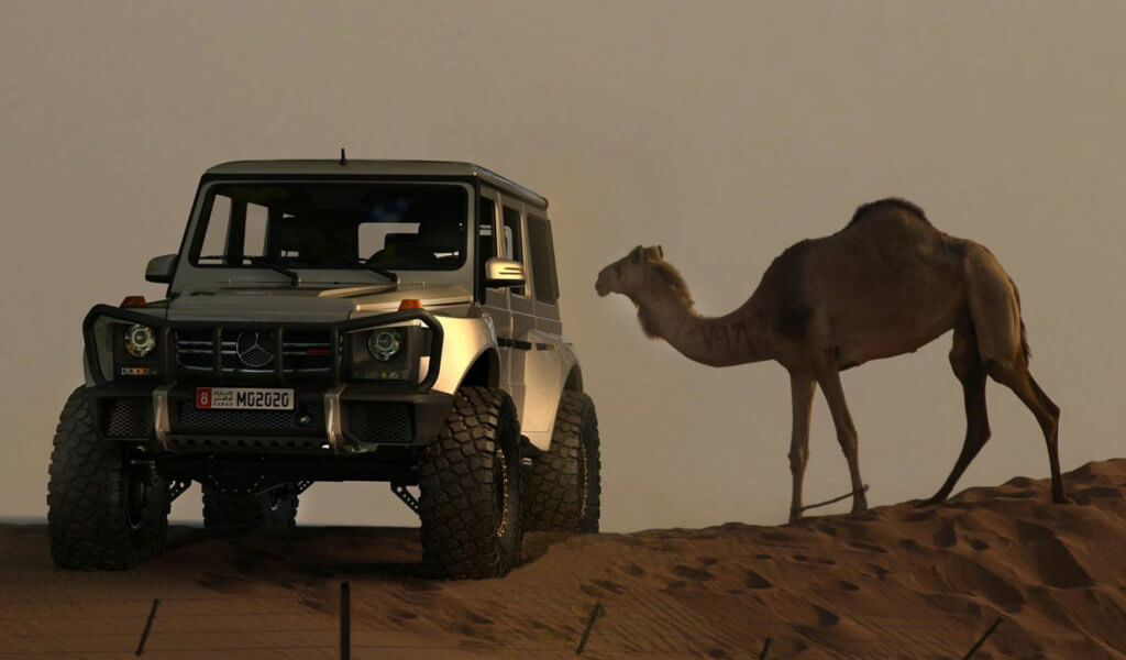 Lifted Mercedes G-Classe with offroad modifications