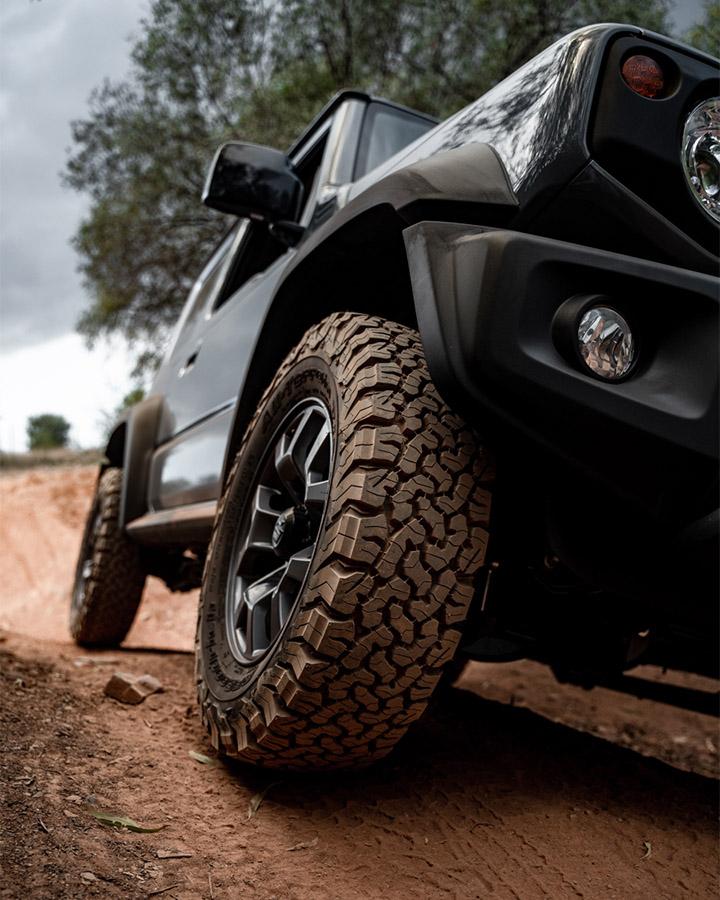 Lifted Suzuki Jimny with mud tires