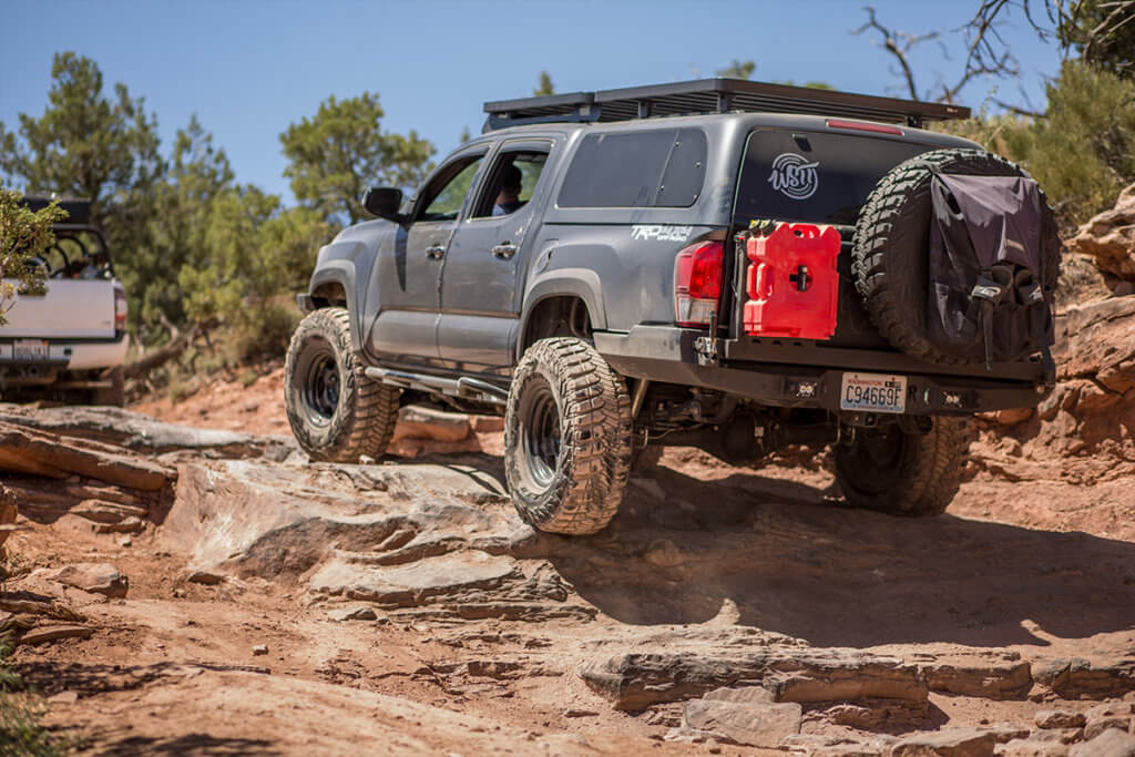 Toyota Tacoma swing aweay spare tire carrier by Relentless fabrication