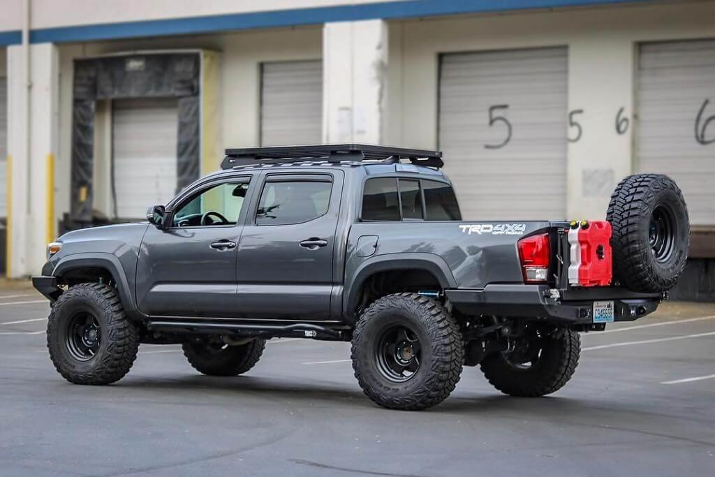 toyota tacoma truck with tailgate mounted spare tire