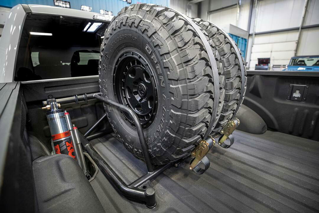 Bed mount dual spare tire carrier for ford f150 Raptor prerunner