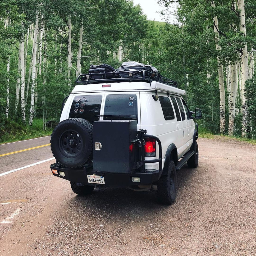 Ford E350 spare tire carrier and ledder