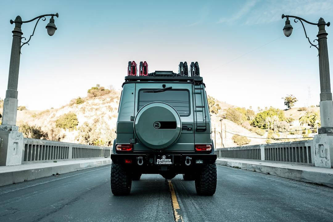 Mercedes G wagon rear view and spare tire carrier