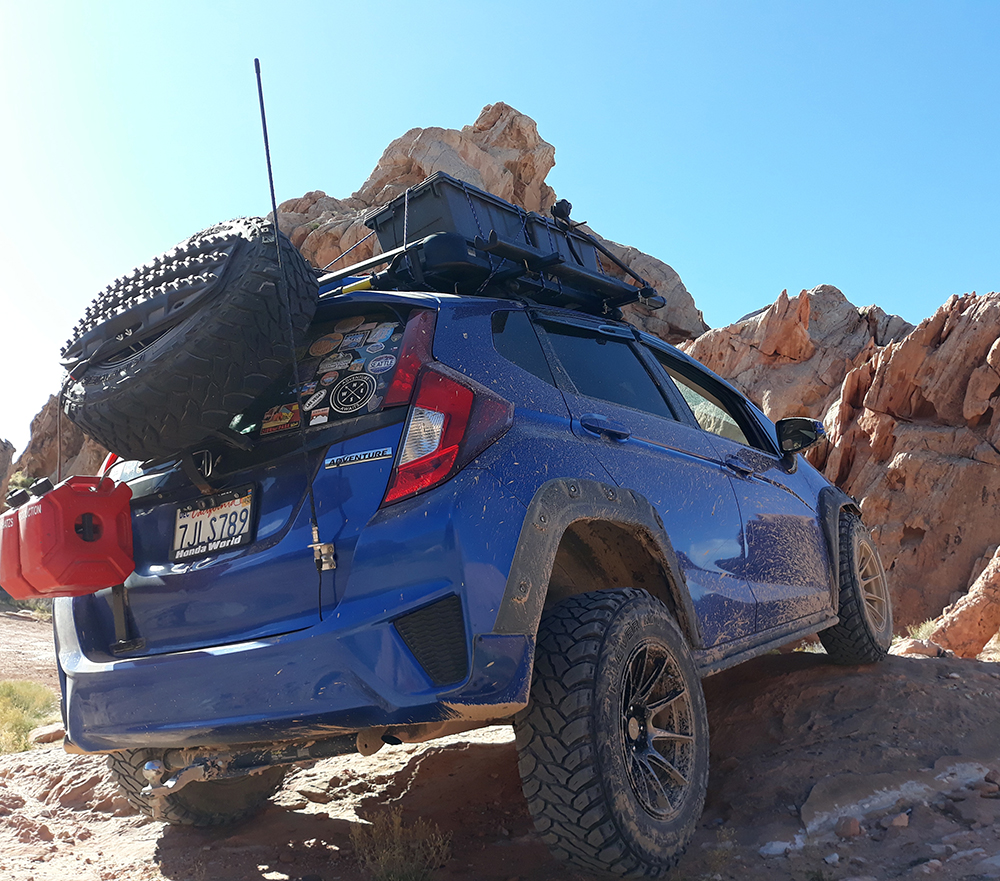 Honda Fit spare tire carrier and overland roof rack