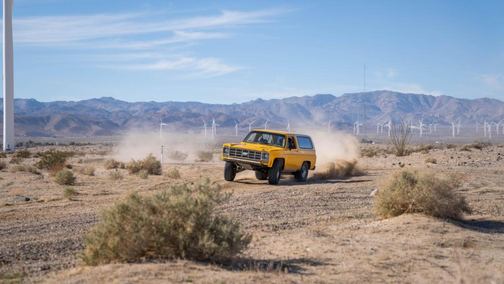 Chevy K5 Blazer square body pre-running the desert cource