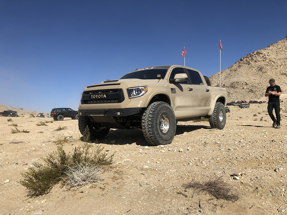 Tan toyota tundra pre runner on 38×13.0 Milestar Patagonia MT tires