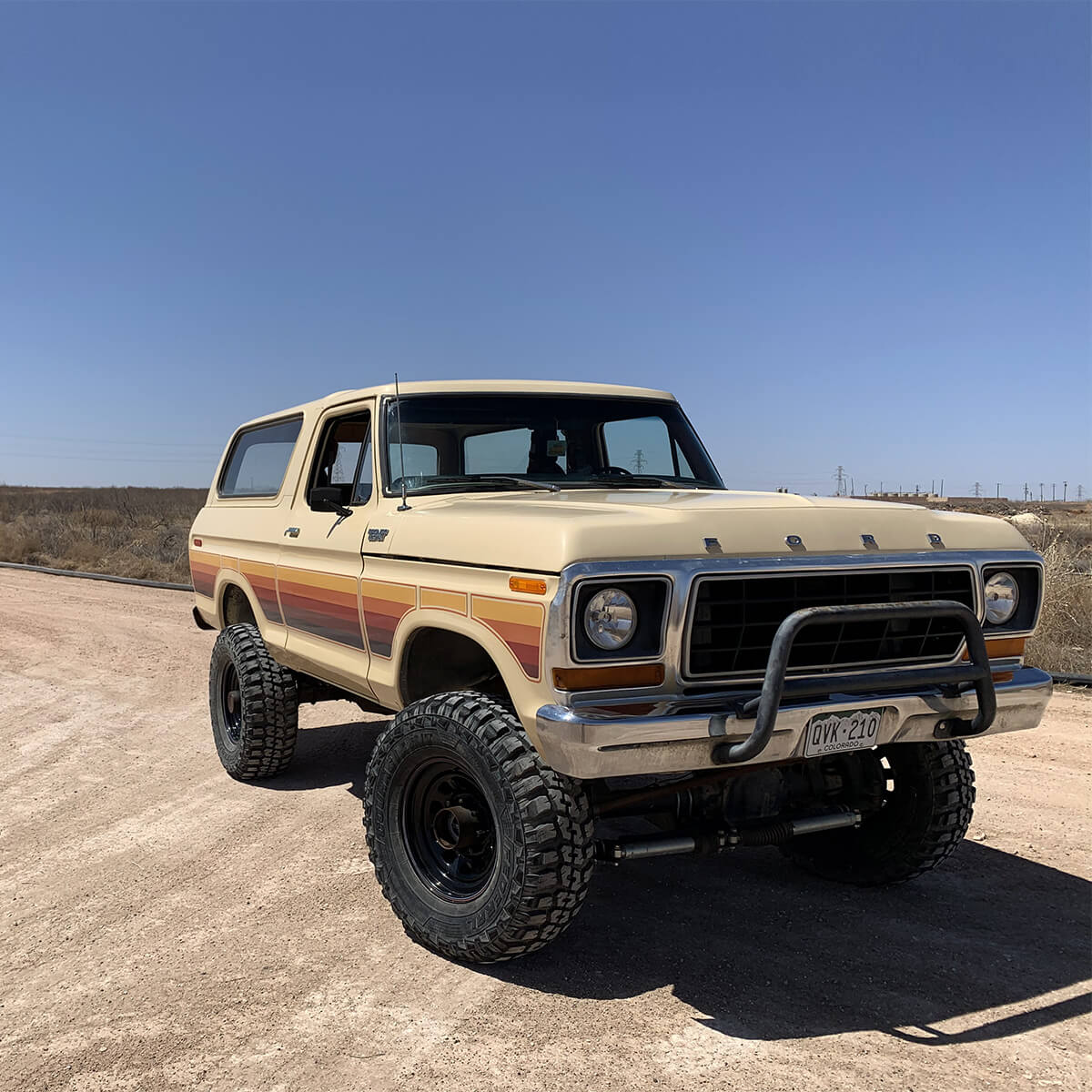 Restored and lifted Ford Bronco on 35 inch tires