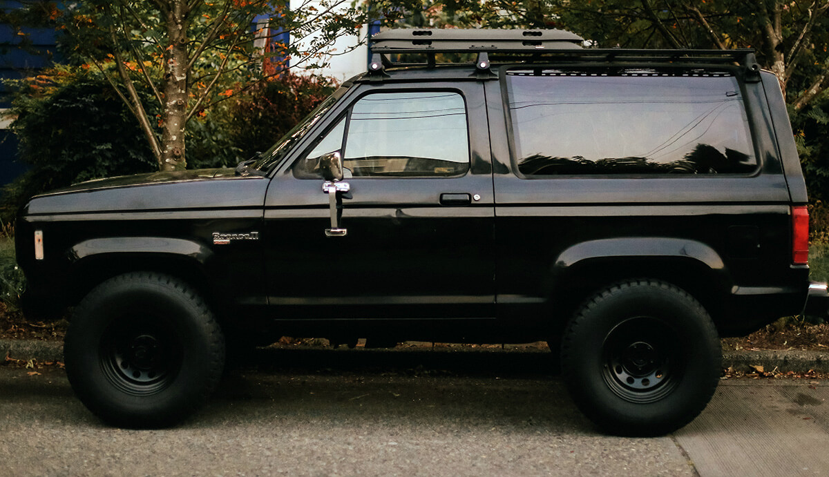 1987 Ford Bronco II with a suspension lift kit