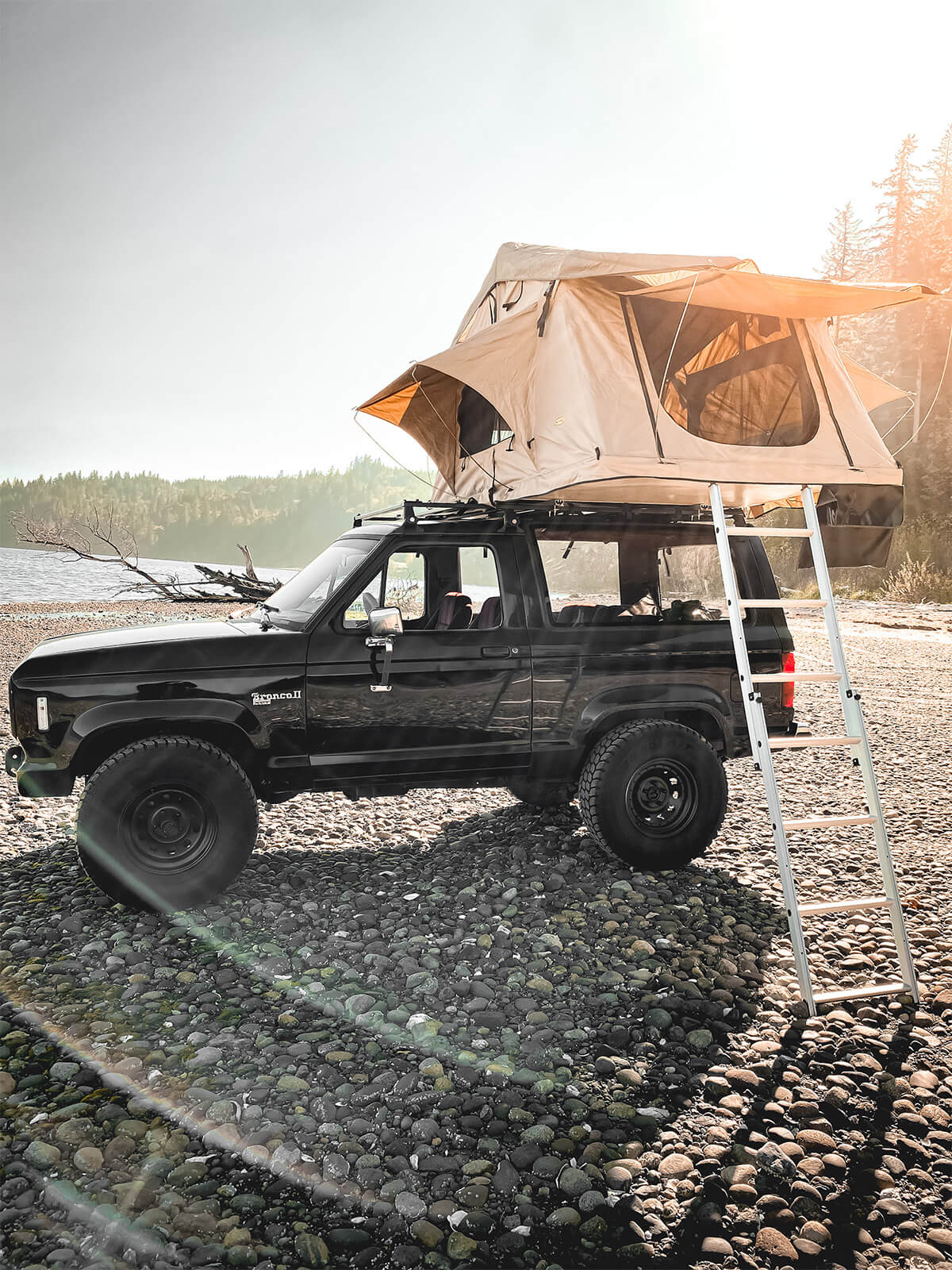 Ford Bronco II offroading and camping