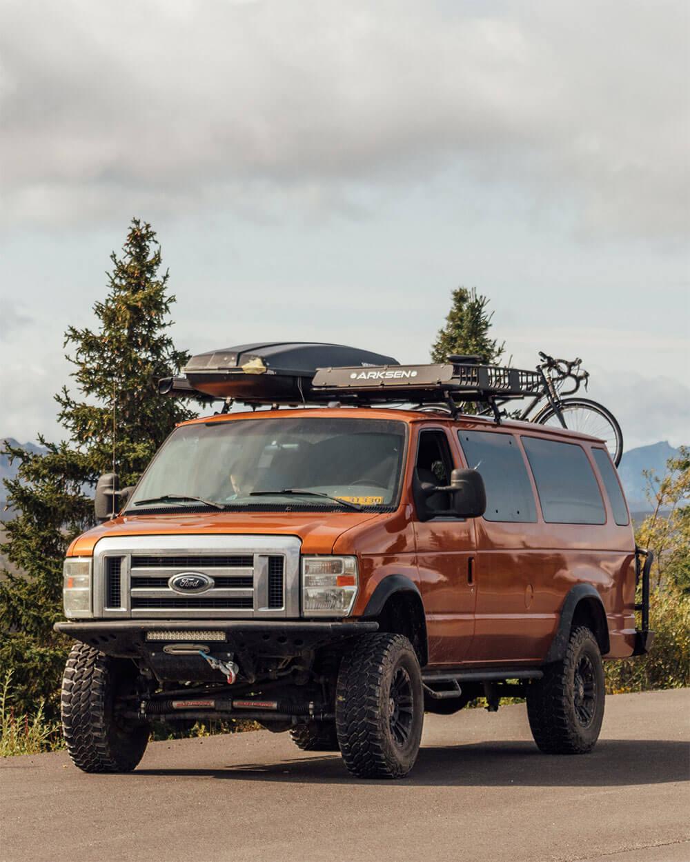 Lifted Ford E350 Camper van in Alaska