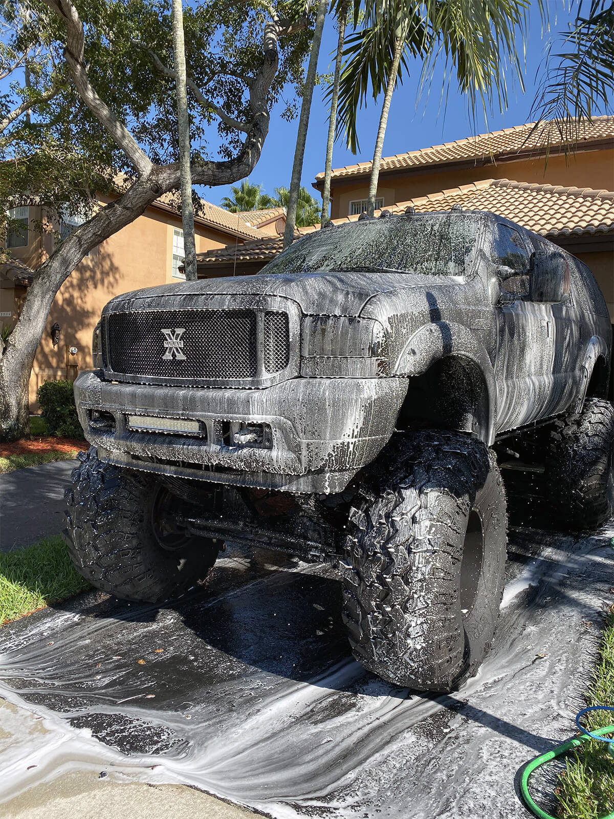 Washing a lifted truck