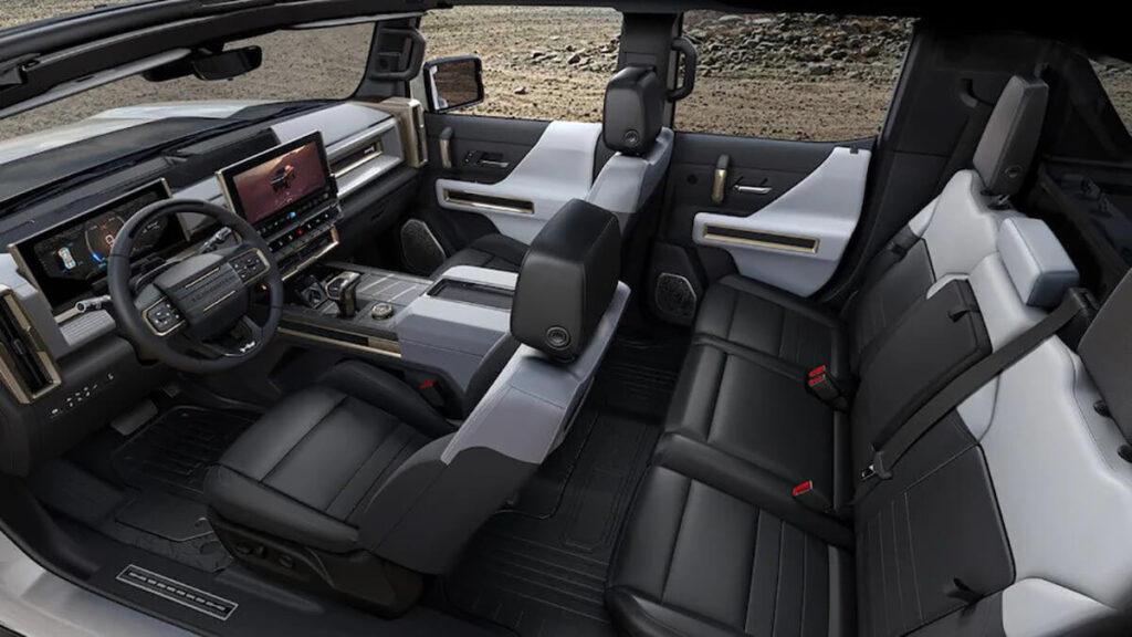 GMC Hummer EV black leather interior