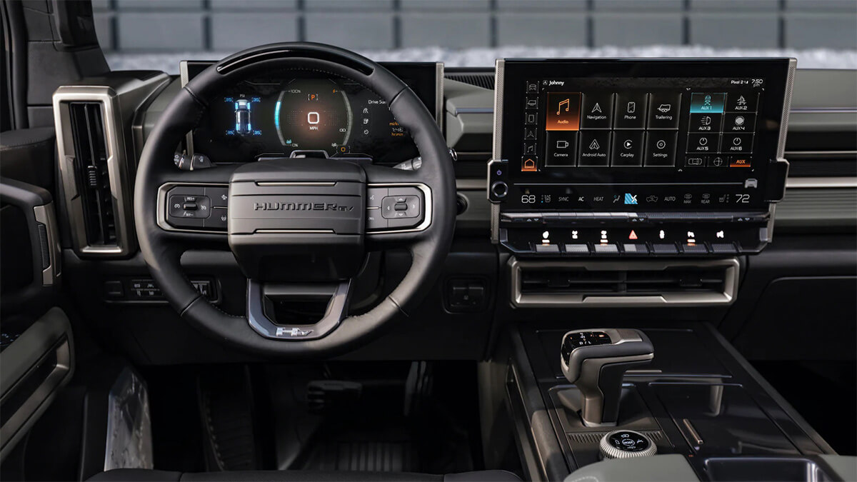 GMC Hummer EV interior dash with 3 LED full screens