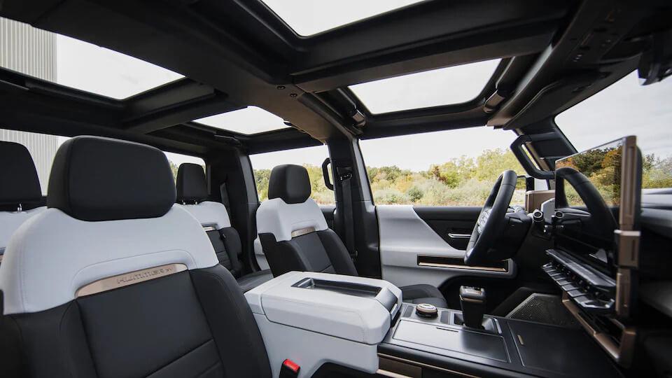 GMC Hummer EV black and white interior