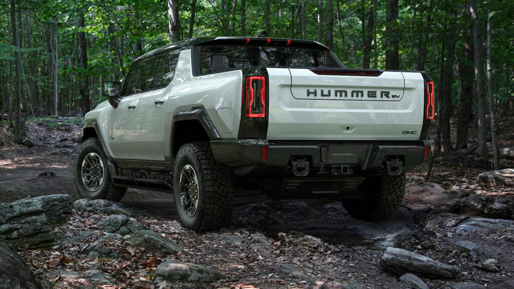 GMC Hummer EV pickup truck with a long bed body style