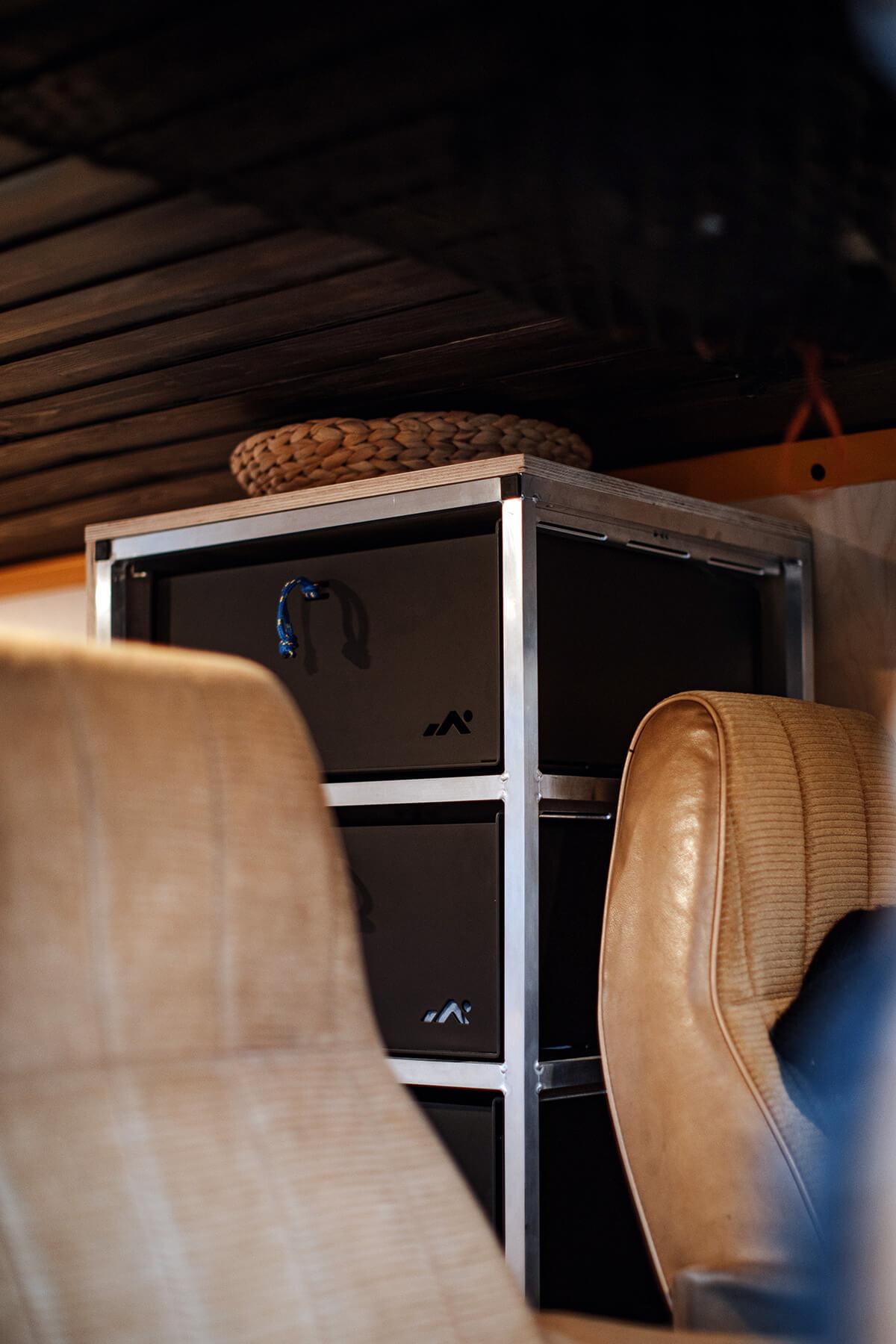 Custom drawers setup for van life