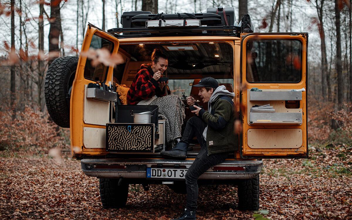 Custom van life setup with kitchen