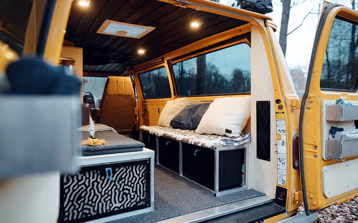 Camper life bed and kitchen