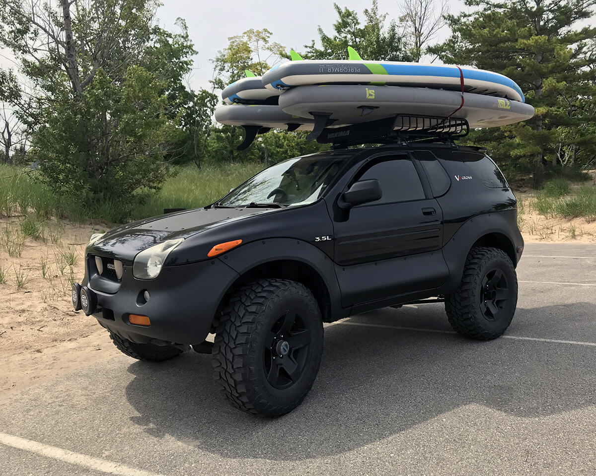 Sup surf in roof rack