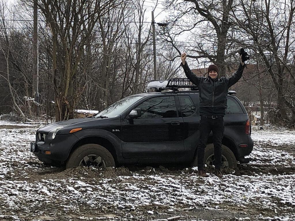 Isuzu Vehicross stuck in mud