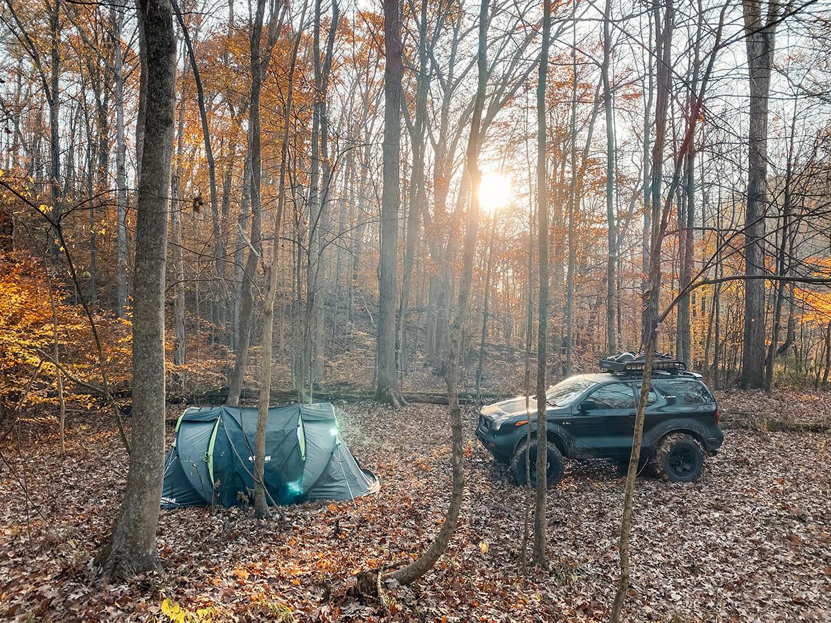 Camping in Isuzu Vehi Cross