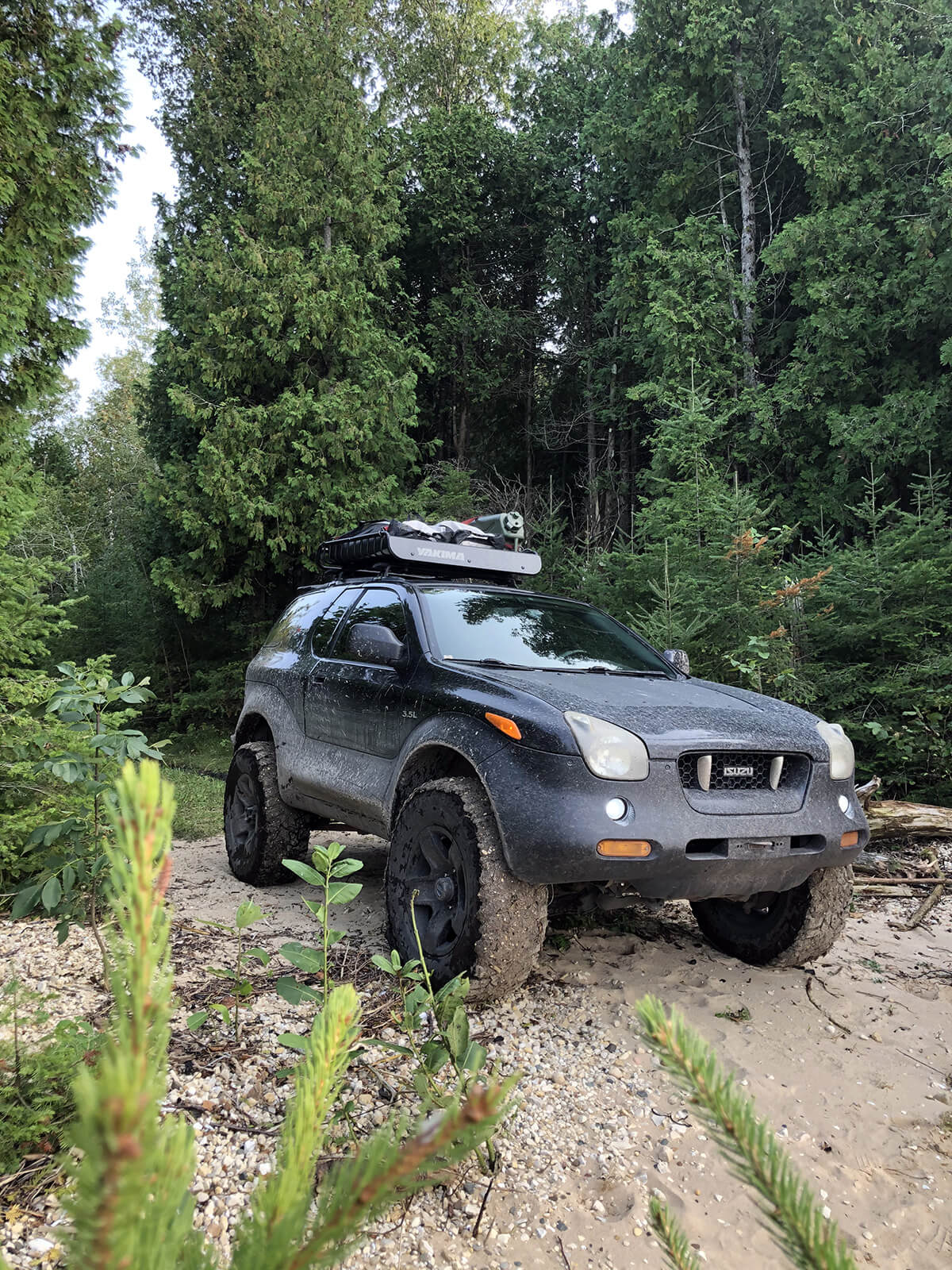 Black lifted Isuzu Vehicross on big tires