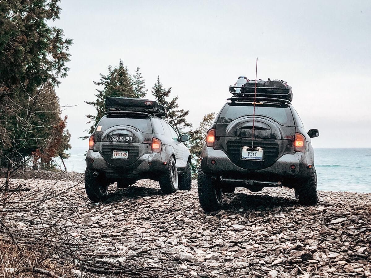 Isuzu Vehicross suspension travel and wheel flex