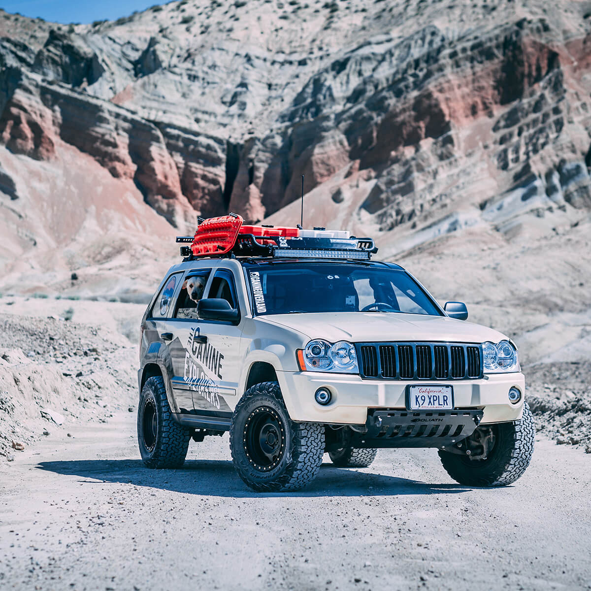 Lifted Jeep Grand Cherokee WK1 with a roof rack