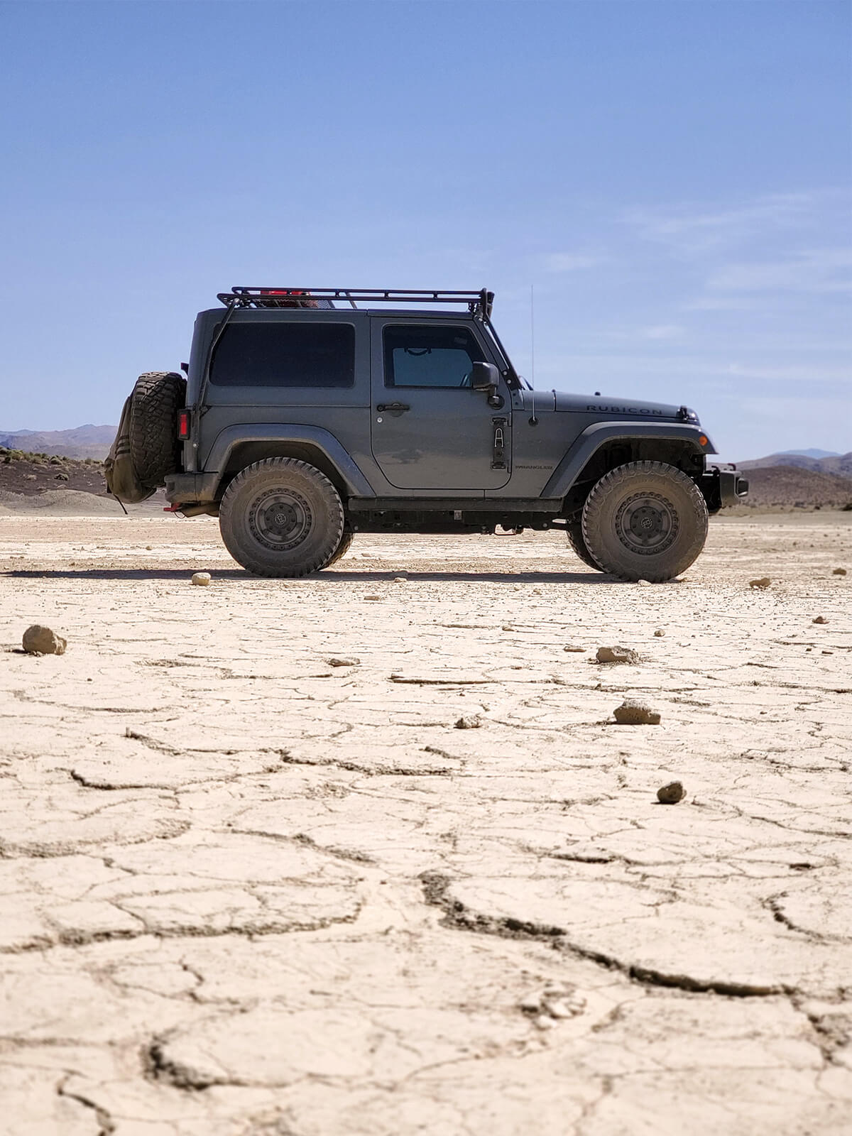 Lifted Jeep wrangler with offroad mods in Baja desert