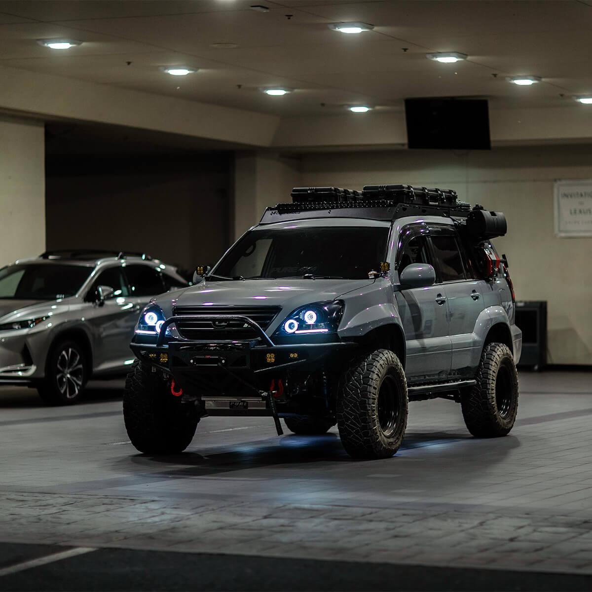BX Built custom headlights with halo rings - Lexus GX470