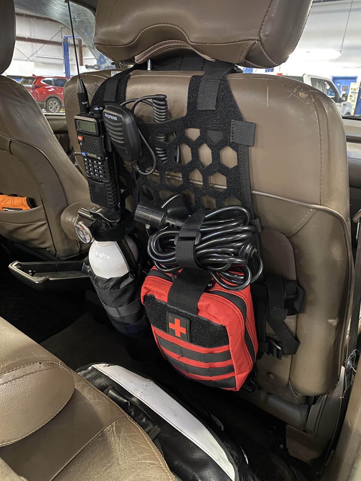 5.11 tactical hexgrid seat storage and Midland MXT 115 radio